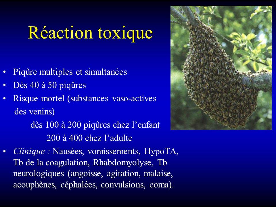 Réaction toxique Piqûre multiples et simultanées Dès 40 à 50 piqûres