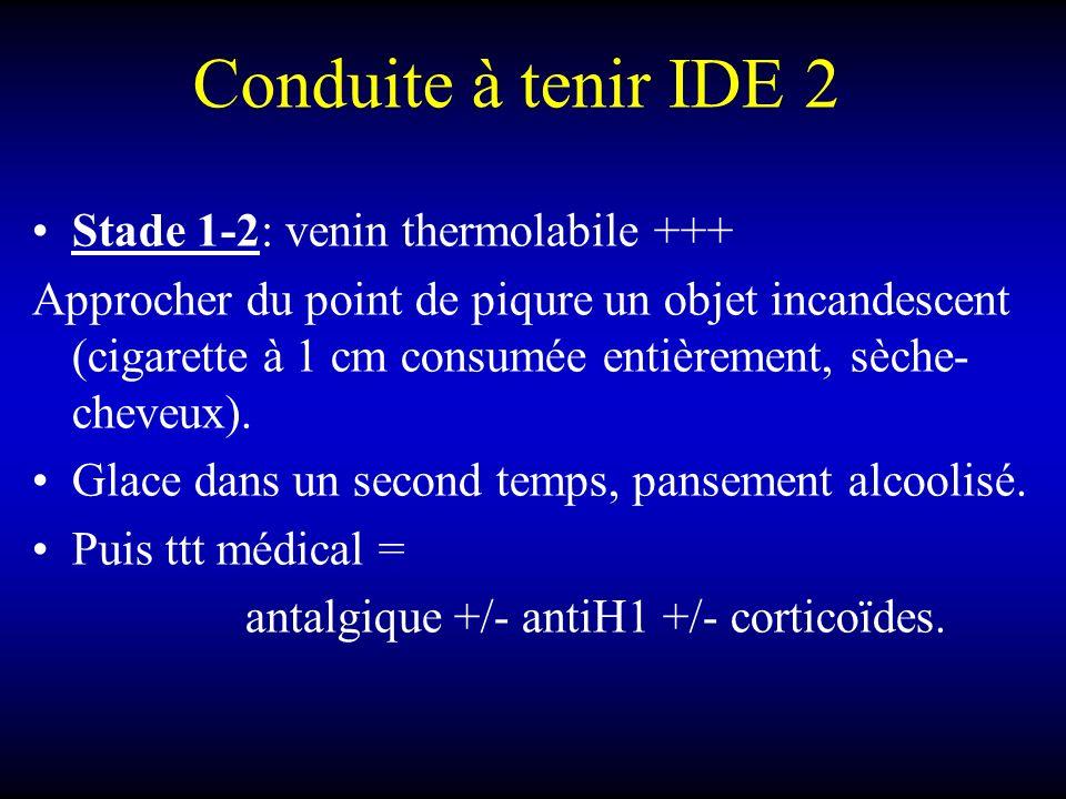 Conduite à tenir IDE 2 Stade 1-2: venin thermolabile +++