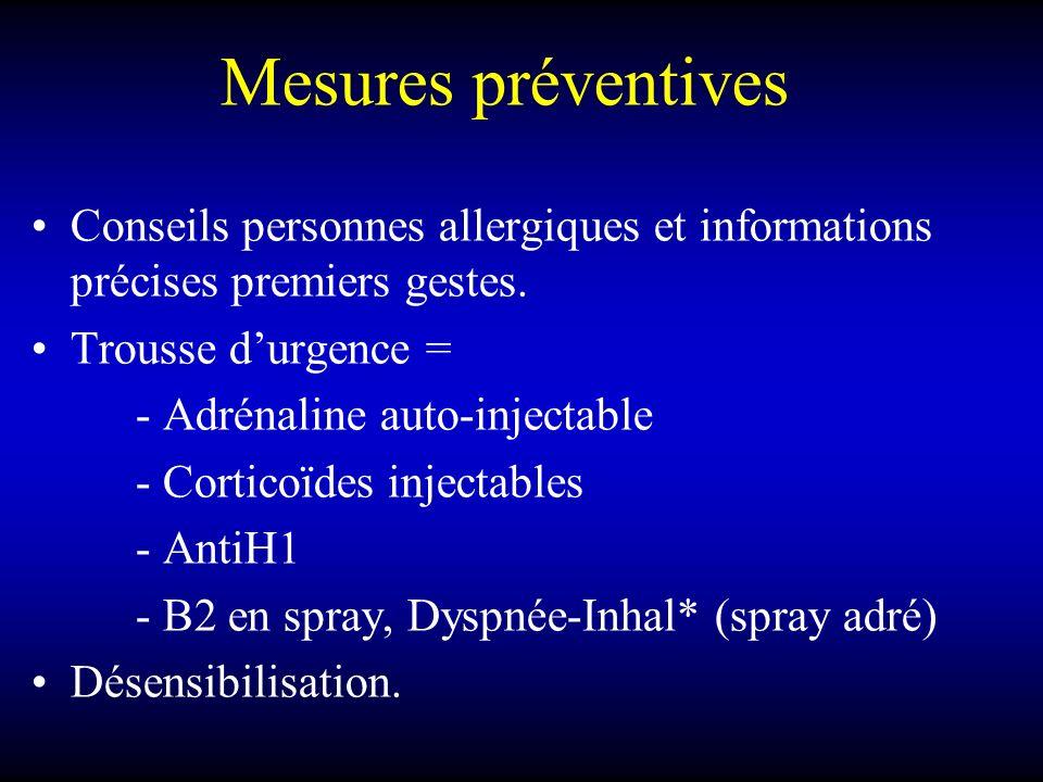 Mesures préventives Conseils personnes allergiques et informations précises premiers gestes. Trousse d'urgence =