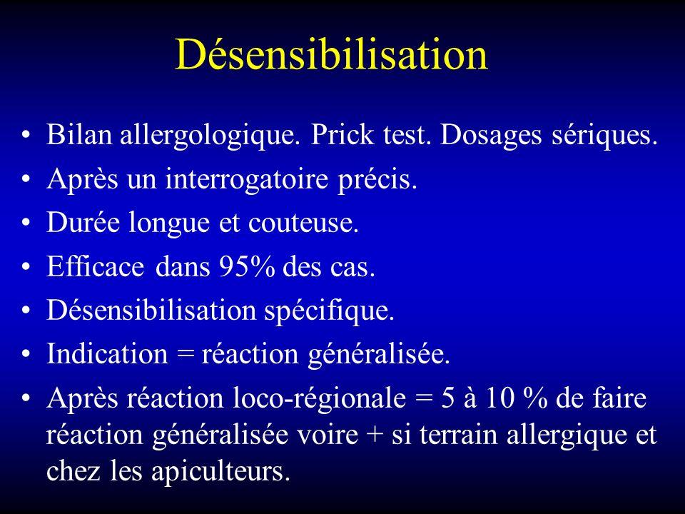 Désensibilisation Bilan allergologique. Prick test. Dosages sériques.
