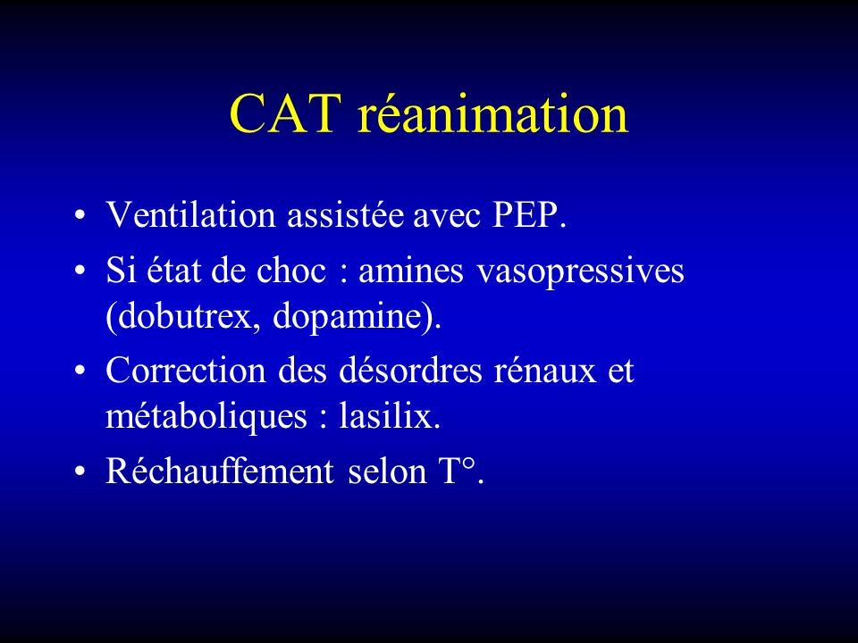 CAT réanimation Ventilation assistée avec PEP.
