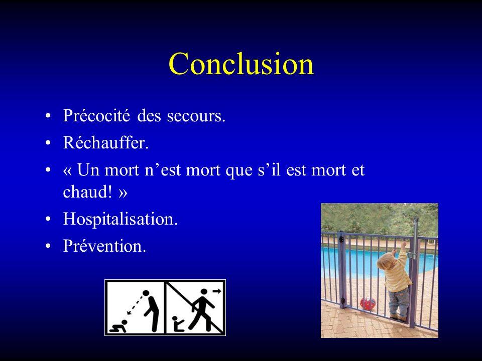 Conclusion Précocité des secours. Réchauffer.