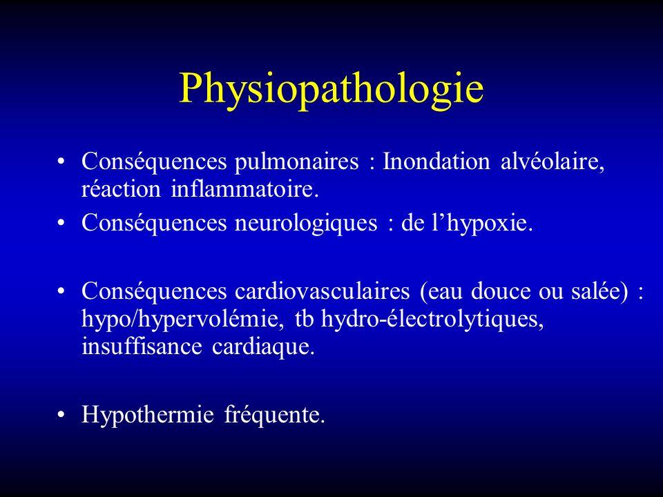 Physiopathologie Conséquences pulmonaires : Inondation alvéolaire, réaction inflammatoire. Conséquences neurologiques : de l'hypoxie.