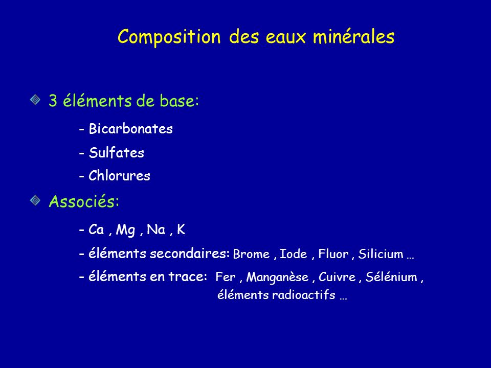 Composition des eaux minérales