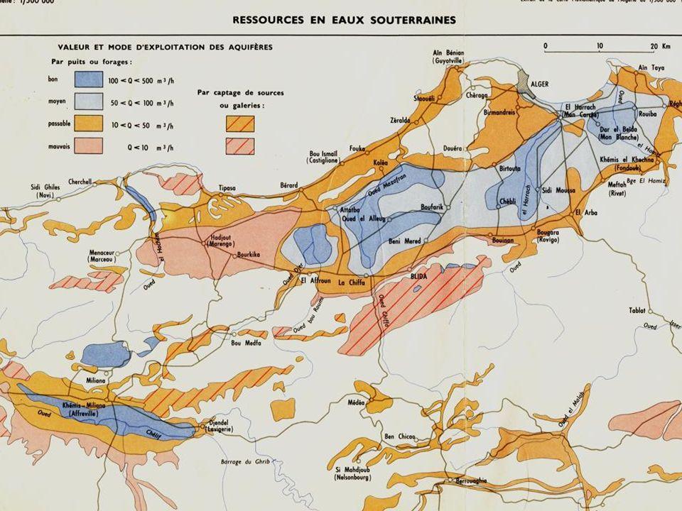 Les régions aquifères sont bien réparties autour d Alger avec