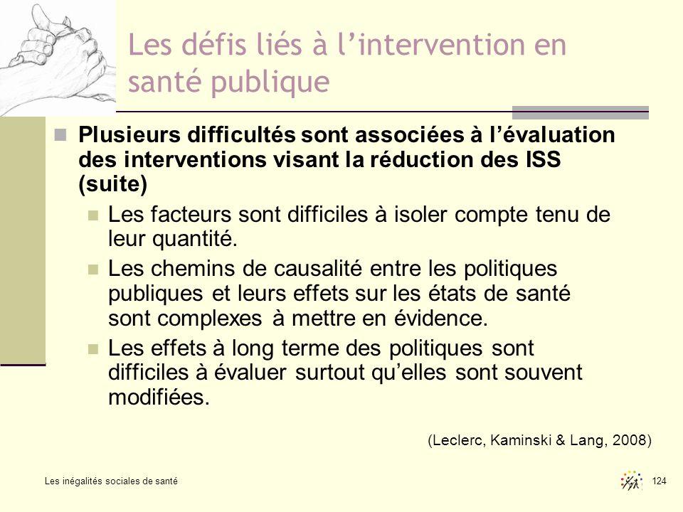 Les défis liés à l'intervention en santé publique