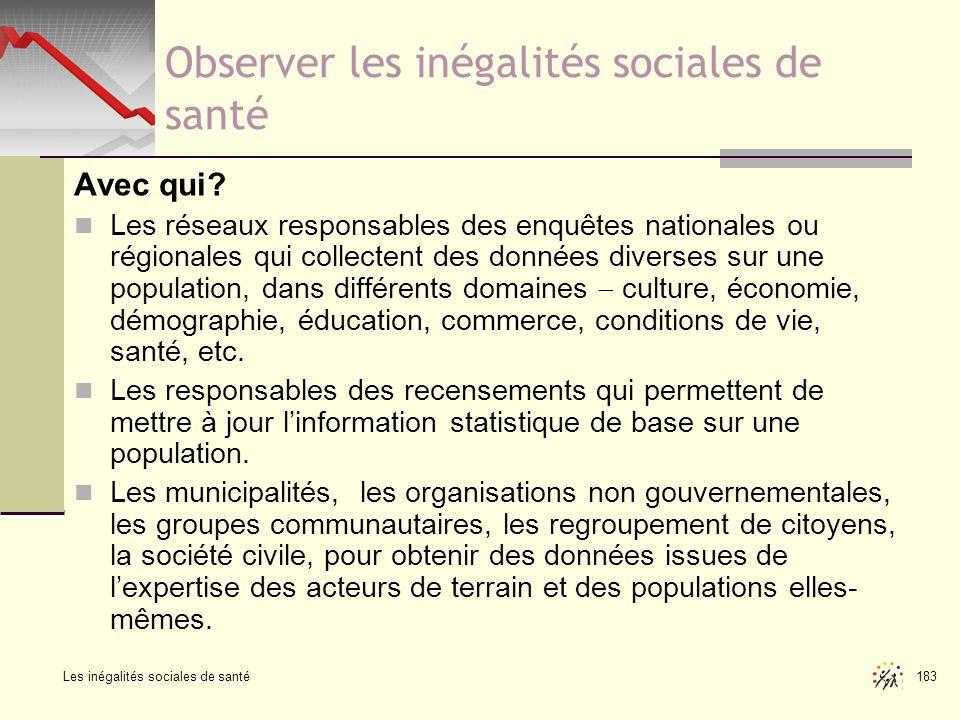 Observer les inégalités sociales de santé