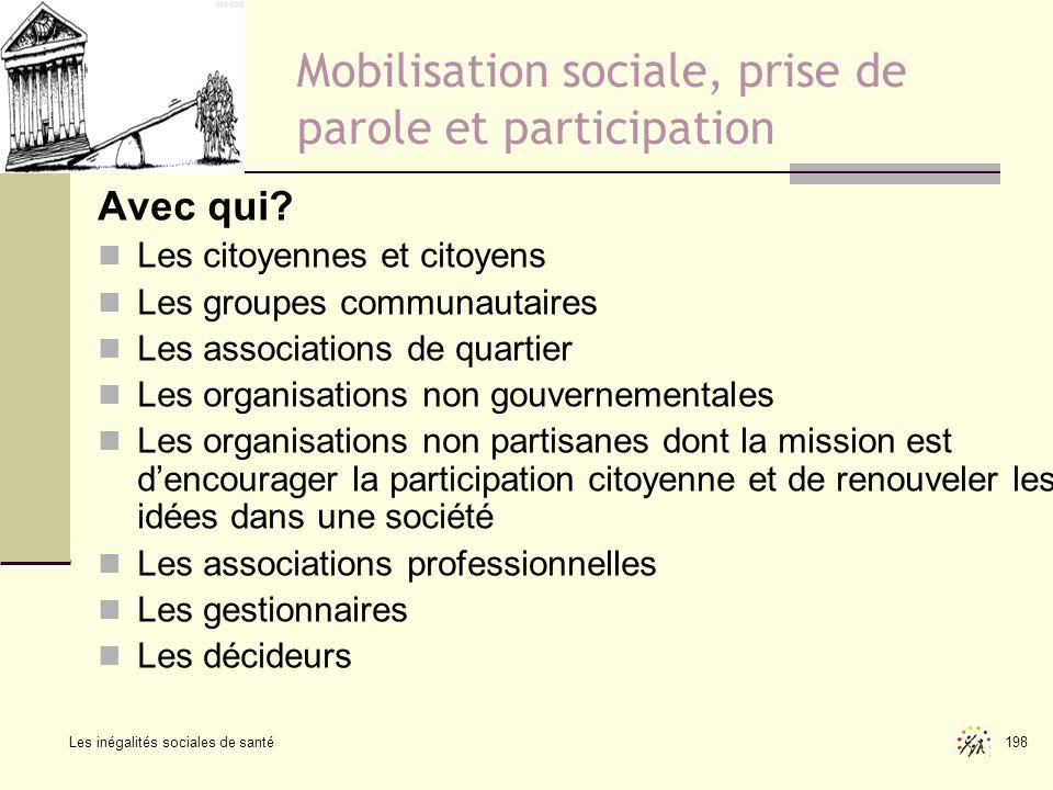 Mobilisation sociale, prise de parole et participation