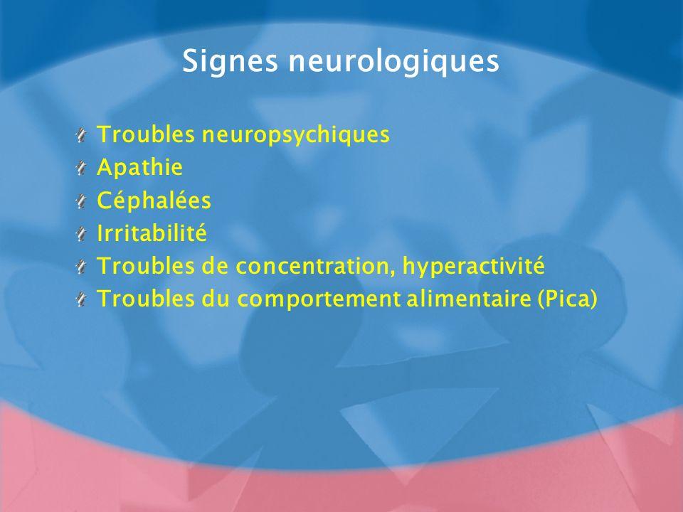 Signes neurologiques Troubles neuropsychiques Apathie Céphalées