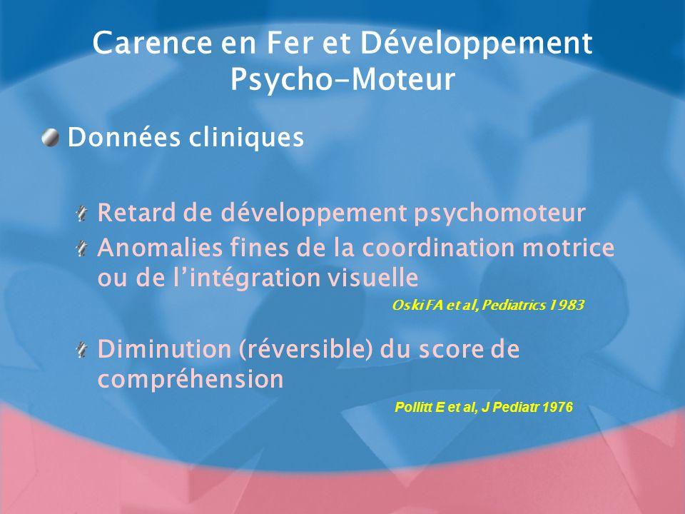 Carence en Fer et Développement Psycho-Moteur