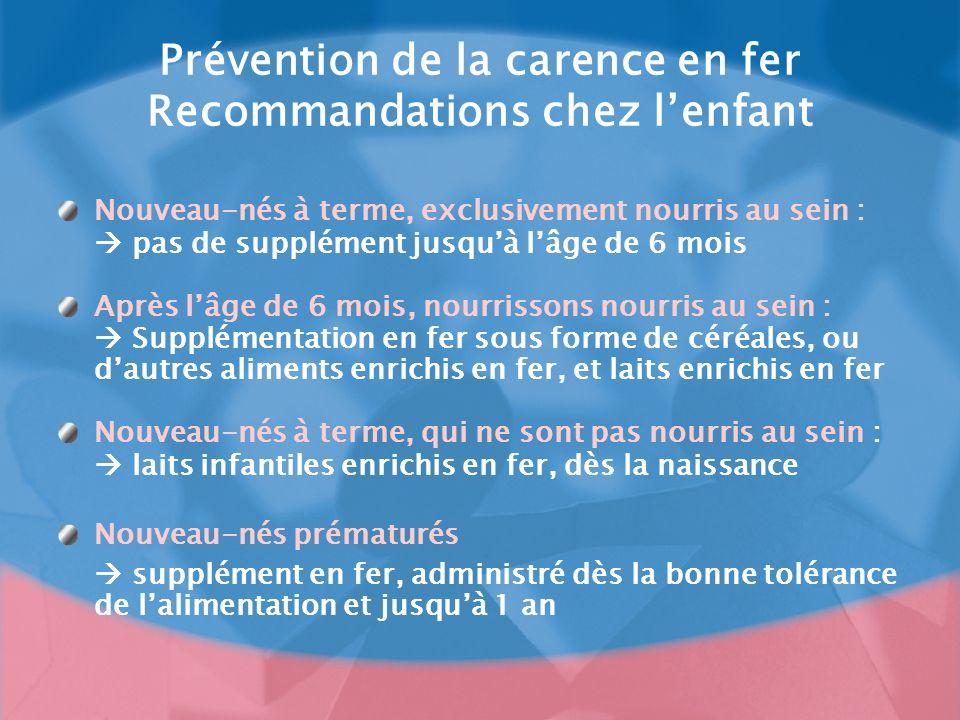 Prévention de la carence en fer Recommandations chez l'enfant