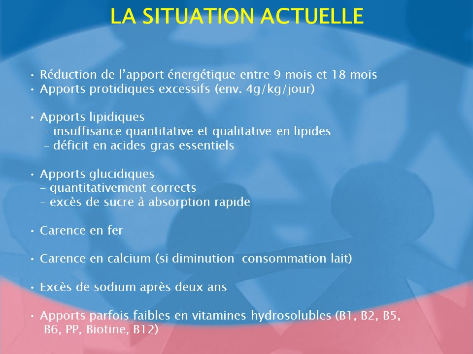 LA SITUATION ACTUELLE• Réduction de l'apport énergétique entre 9 mois et 18 mois. • Apports protidiques excessifs (env. 4g/kg/jour)
