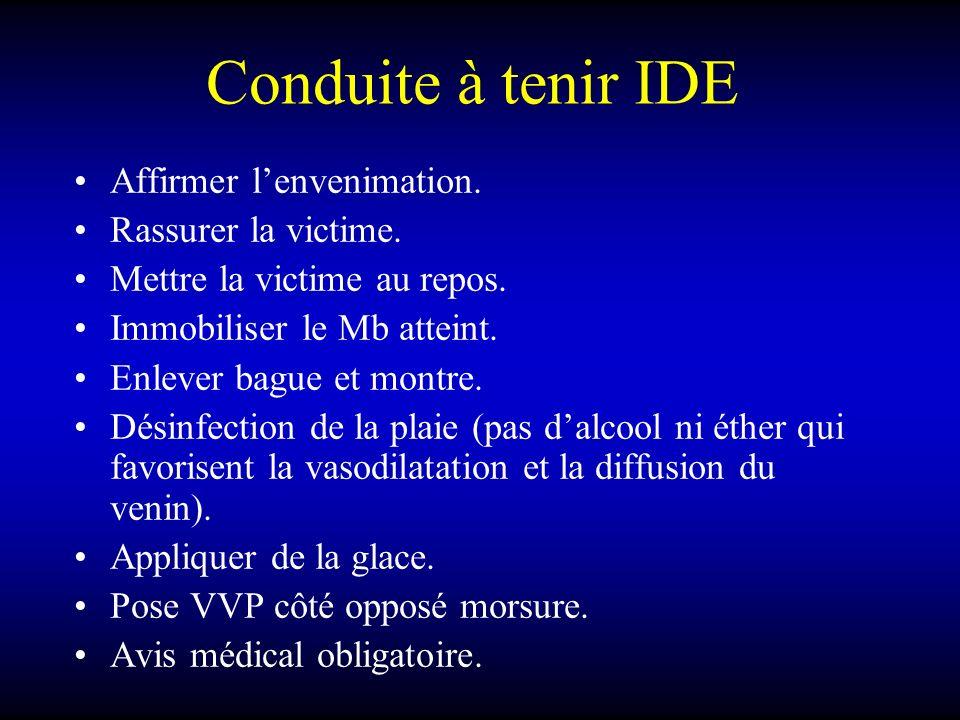 Conduite à tenir IDE Affirmer l'envenimation. Rassurer la victime.