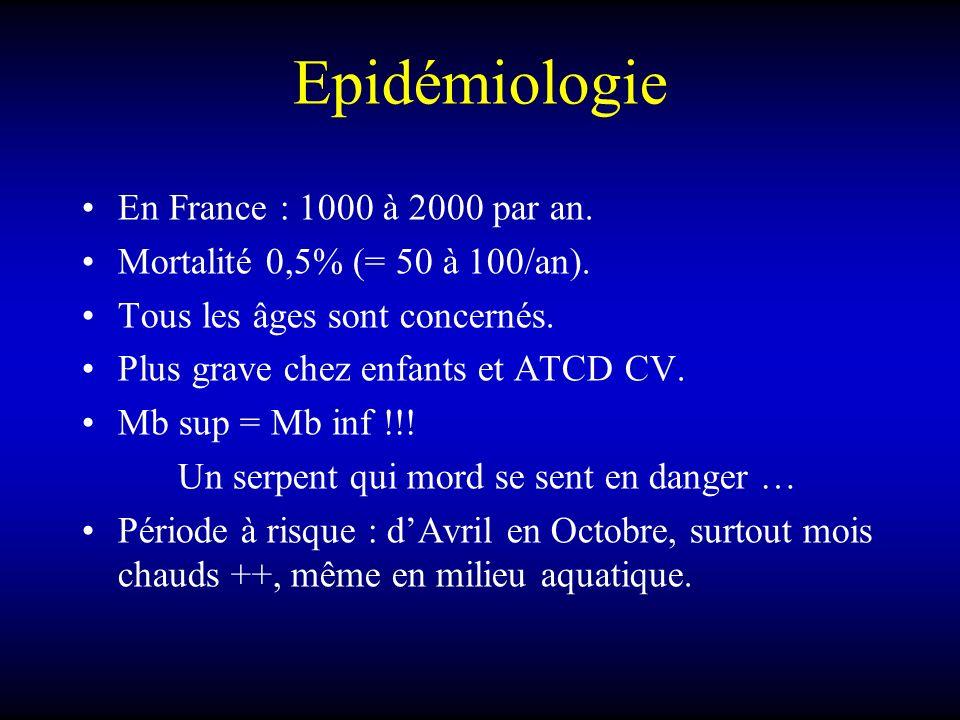 Epidémiologie En France : 1000 à 2000 par an.