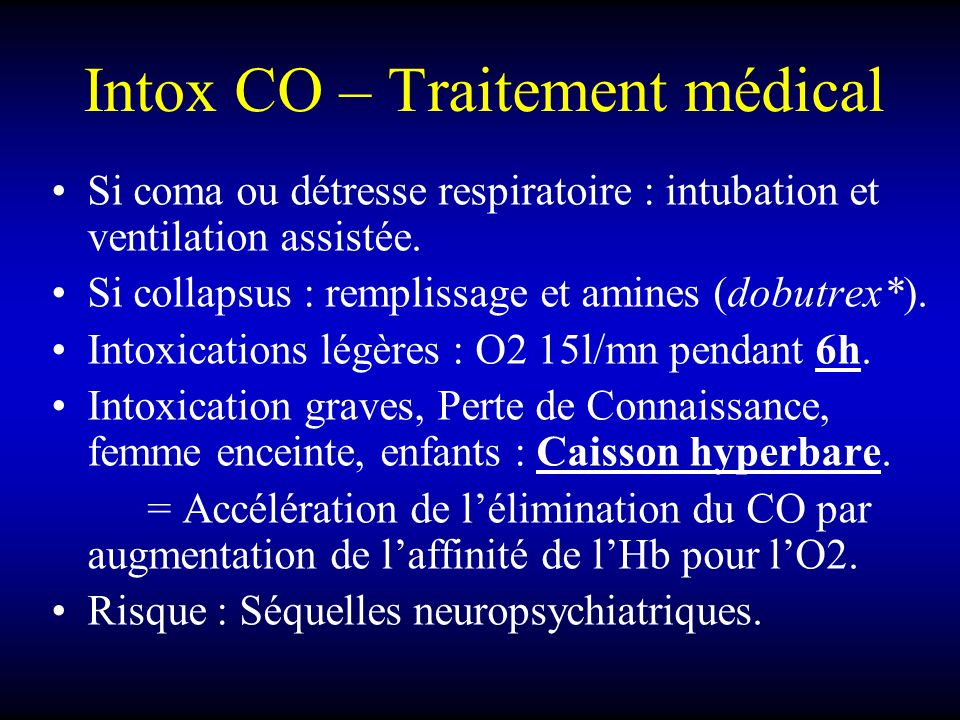 Intox CO – Traitement médical