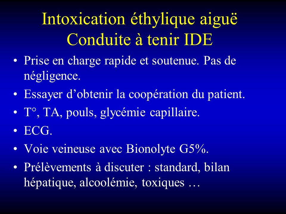 Intoxication éthylique aiguë Conduite à tenir IDE