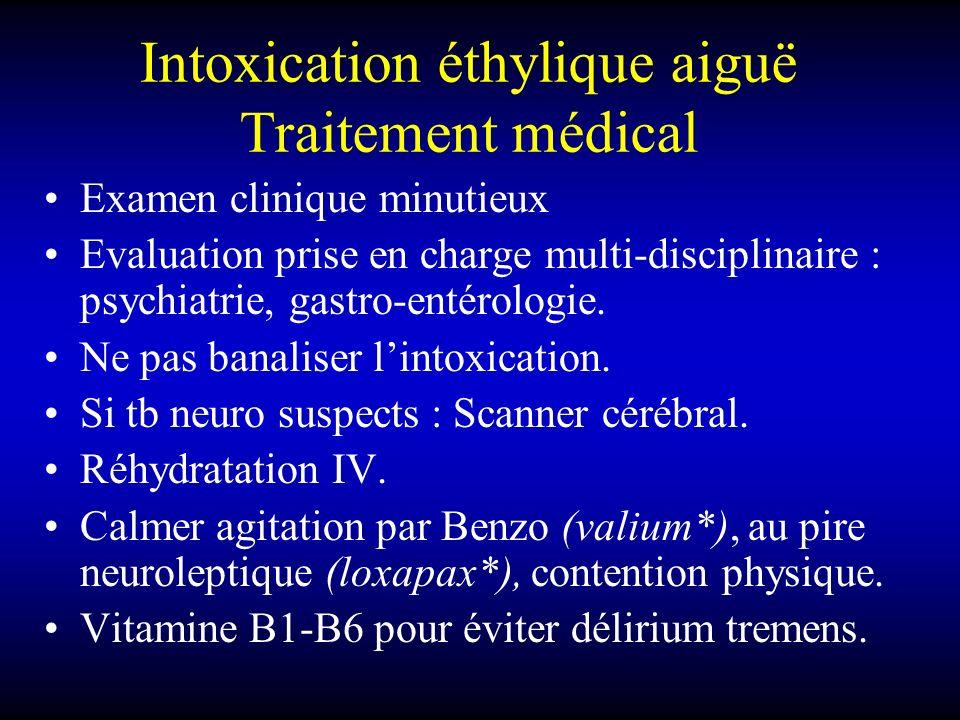 Intoxication éthylique aiguë Traitement médical