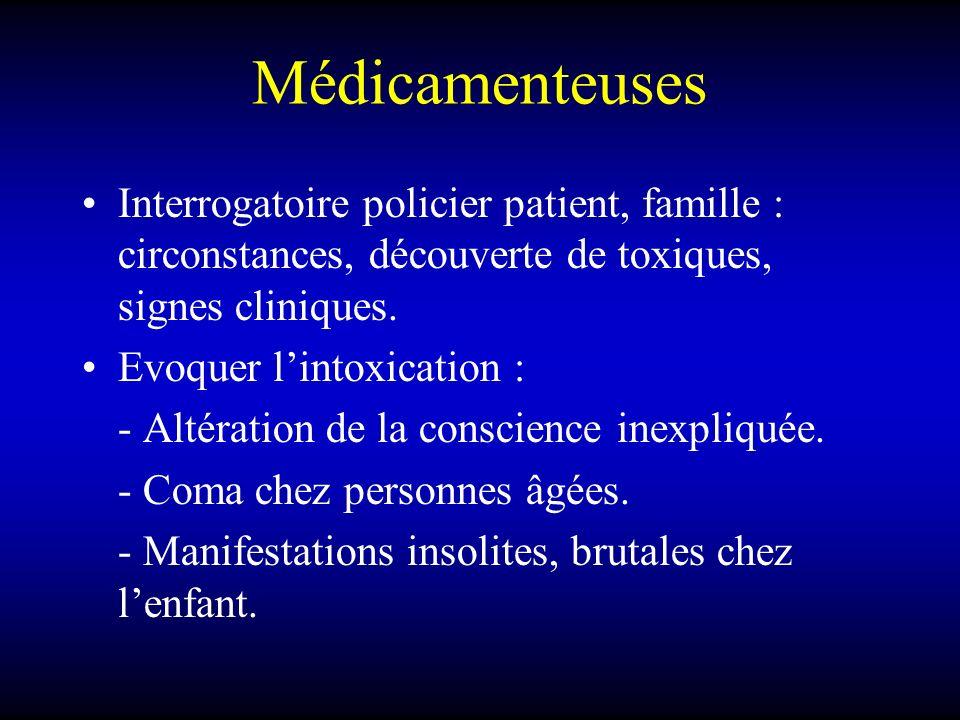 Médicamenteuses Interrogatoire policier patient, famille : circonstances, découverte de toxiques, signes cliniques.