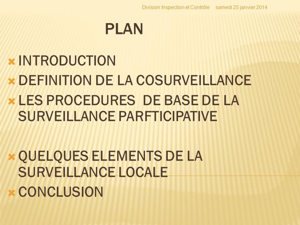 PLAN INTRODUCTION DEFINITION DE LA COSURVEILLANCE