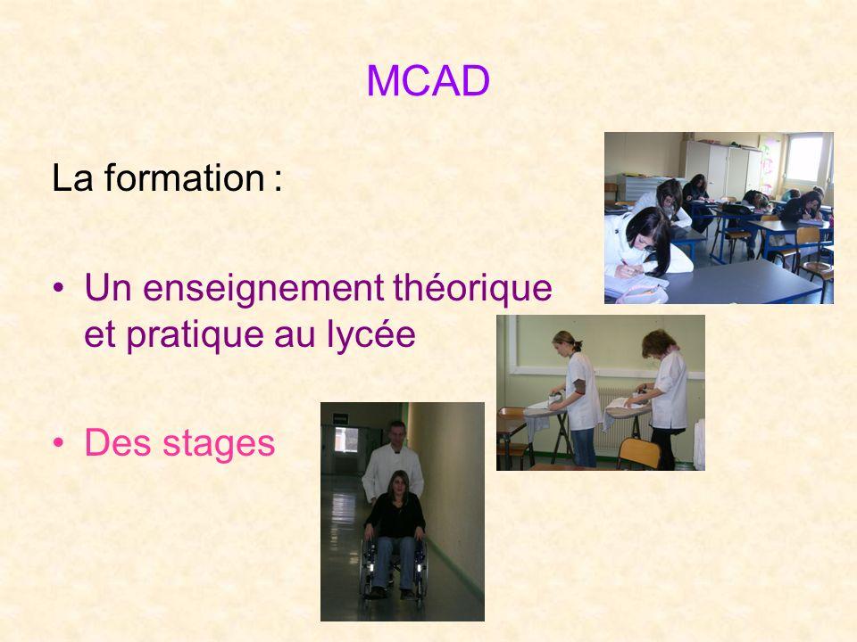 MCAD La formation : Un enseignement théorique et pratique au lycée