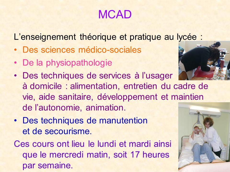 MCAD L'enseignement théorique et pratique au lycée :