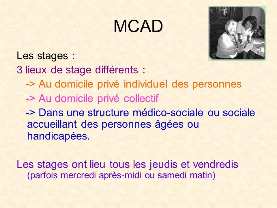 MCAD Les stages : 3 lieux de stage différents :