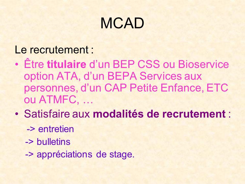 MCAD Le recrutement :