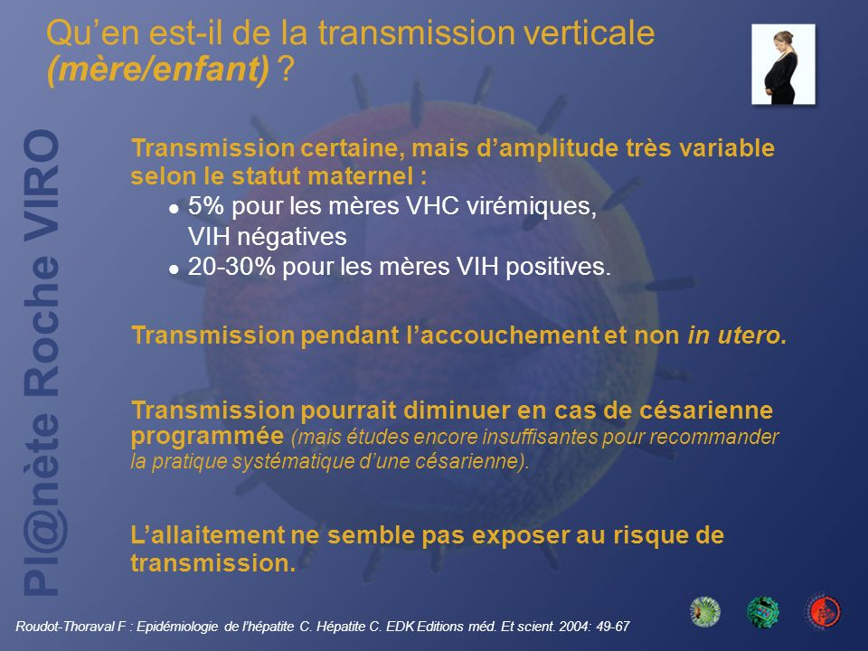 Qu'en est-il de la transmission verticale (mère/enfant)