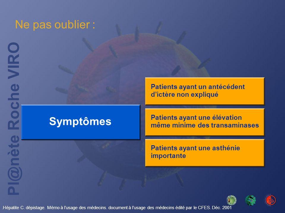 Ne pas oublier : Symptômes