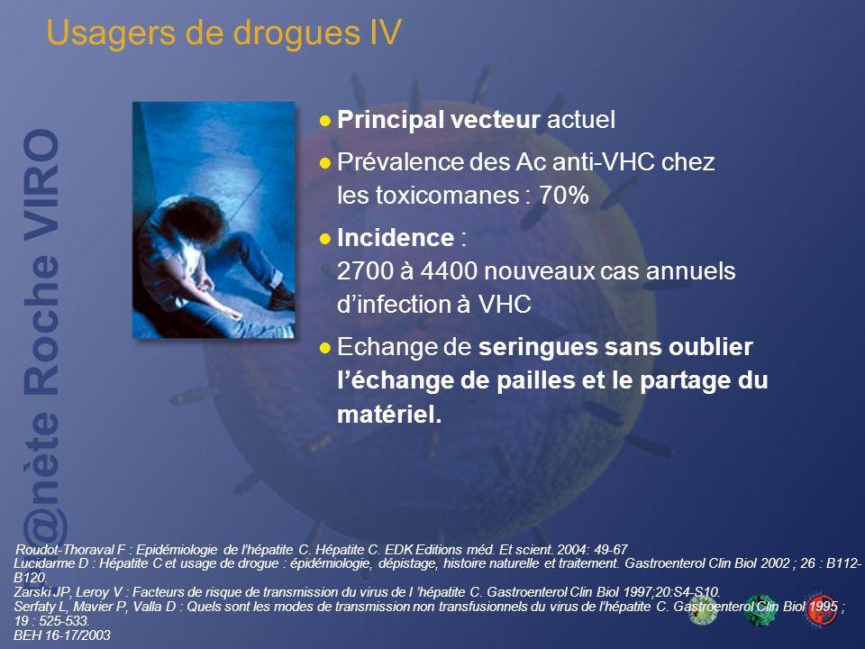 Usagers de drogues IV Principal vecteur actuel