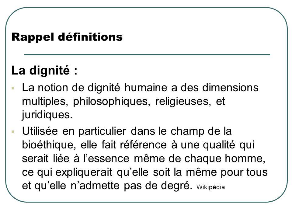 La dignité : Rappel définitions