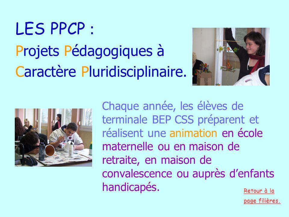 LES PPCP : Projets Pédagogiques à Caractère Pluridisciplinaire.