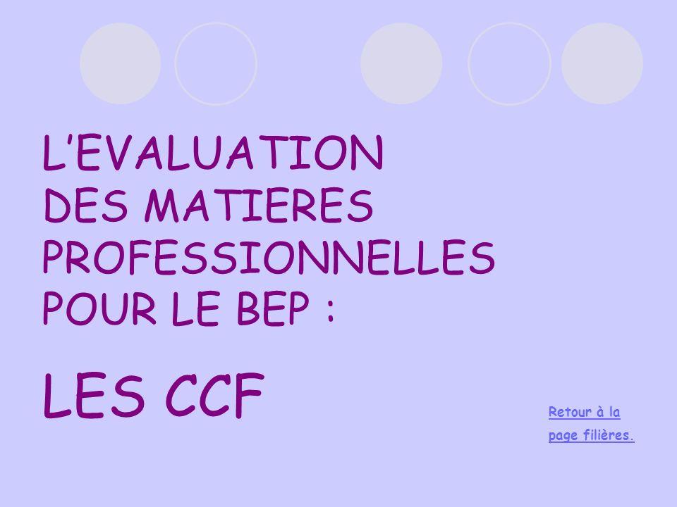 L'EVALUATION DES MATIERES PROFESSIONNELLES POUR LE BEP : LES CCF