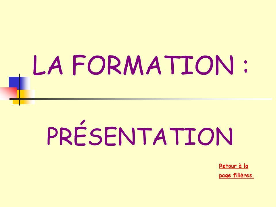 LA FORMATION : PRÉSENTATION Retour à la page filières.