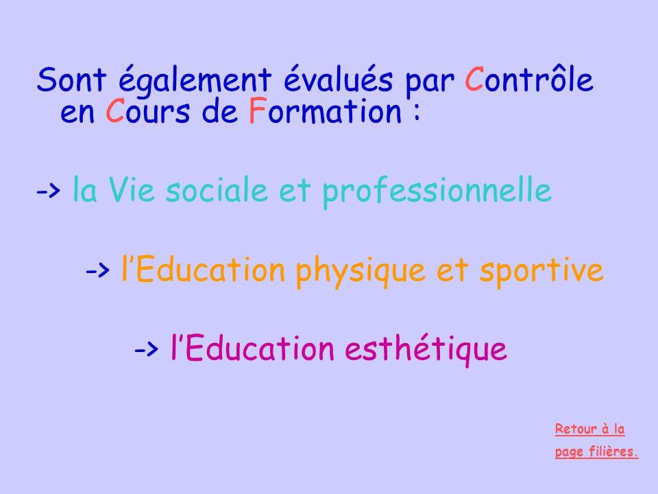 Sont également évalués par Contrôle en Cours de Formation :