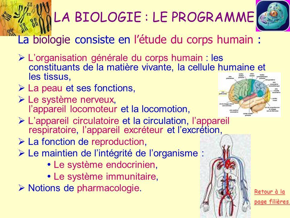 LA BIOLOGIE : LE PROGRAMME