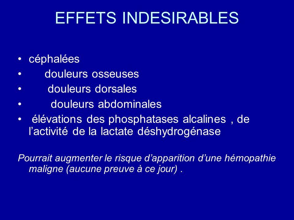 EFFETS INDESIRABLES céphalées douleurs osseuses douleurs dorsales