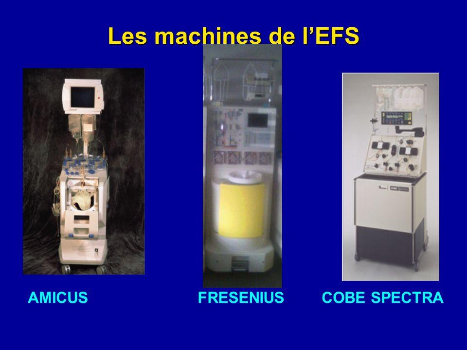 Les machines de l'EFS AMICUS FRESENIUS COBE SPECTRA