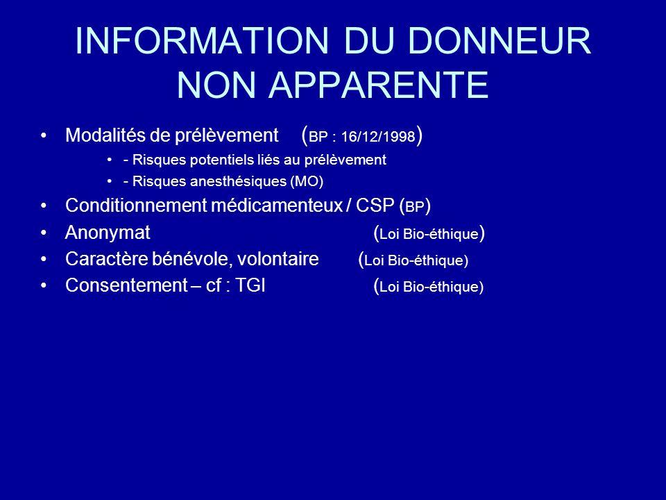 INFORMATION DU DONNEUR NON APPARENTE