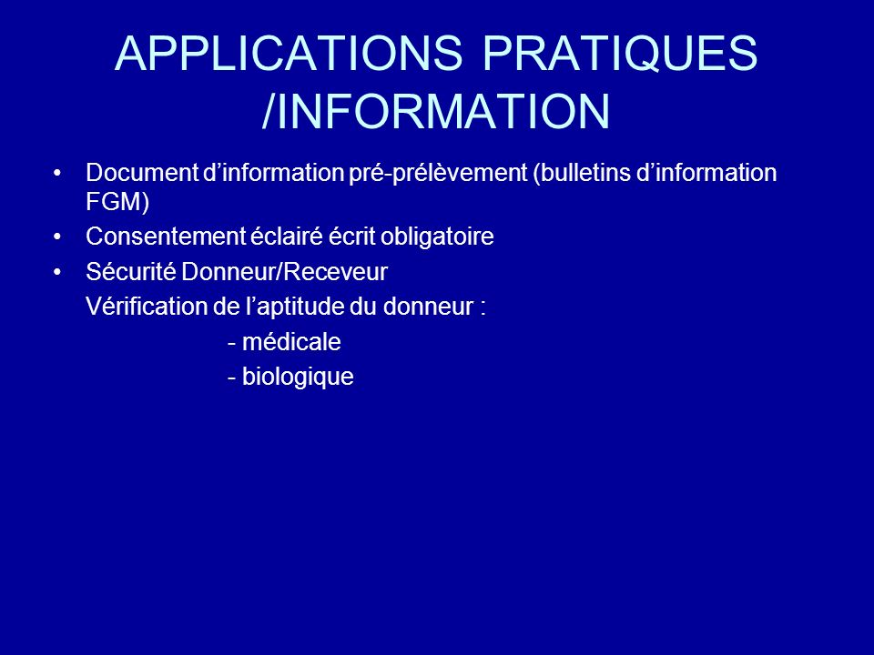 APPLICATIONS PRATIQUES /INFORMATION