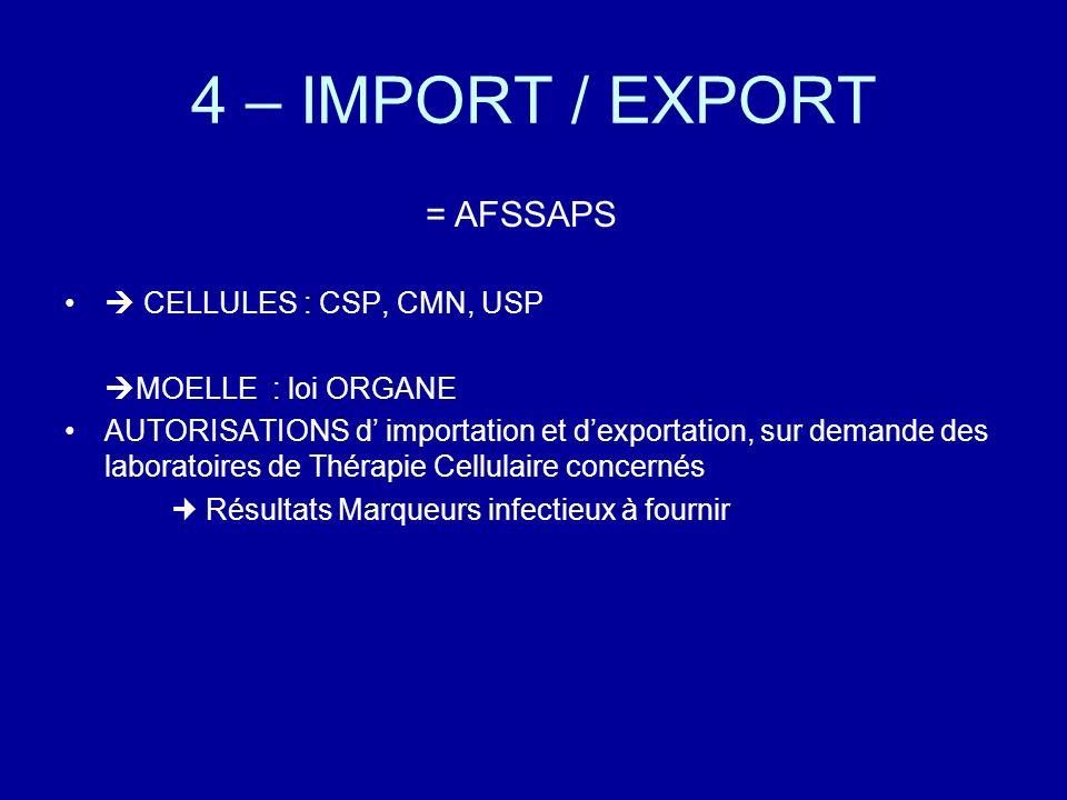 4 – IMPORT / EXPORT = AFSSAPS  CELLULES : CSP, CMN, USP