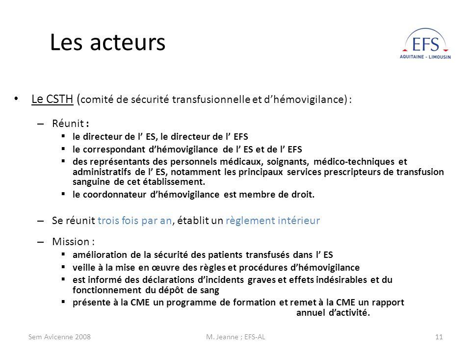 Les acteursLe CSTH (comité de sécurité transfusionnelle et d'hémovigilance) : Réunit : le directeur de l' ES, le directeur de l' EFS.