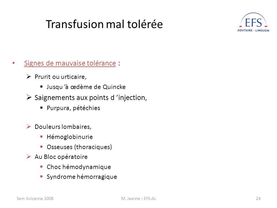 Transfusion mal tolérée