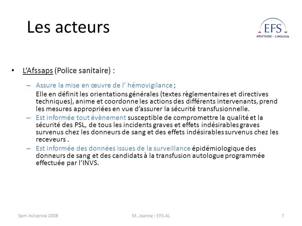 L'Afssaps (Police sanitaire) :