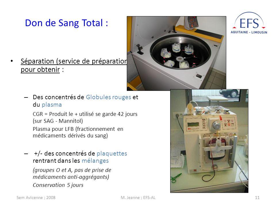 Don de Sang Total : Séparation (service de préparation) pour obtenir :