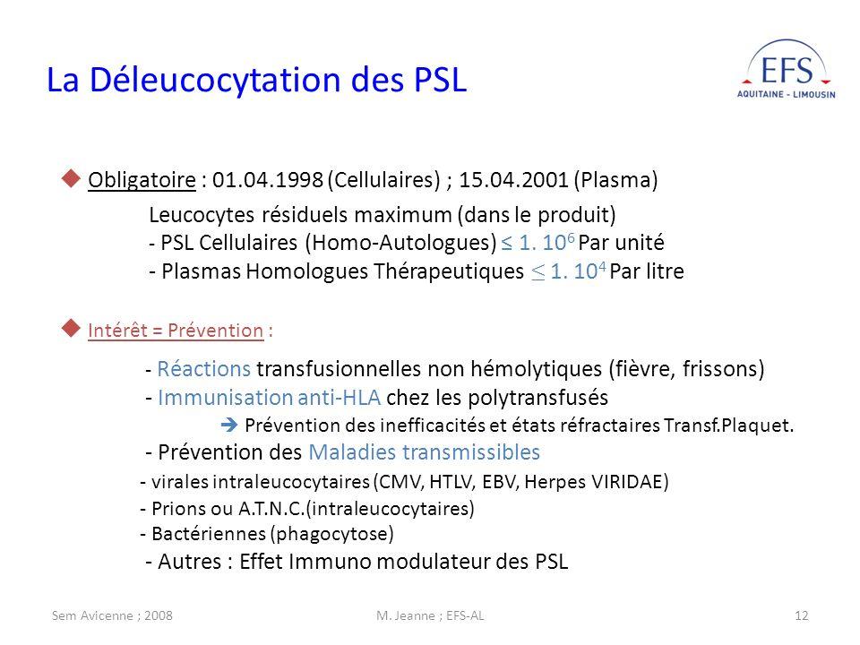 La Déleucocytation des PSL