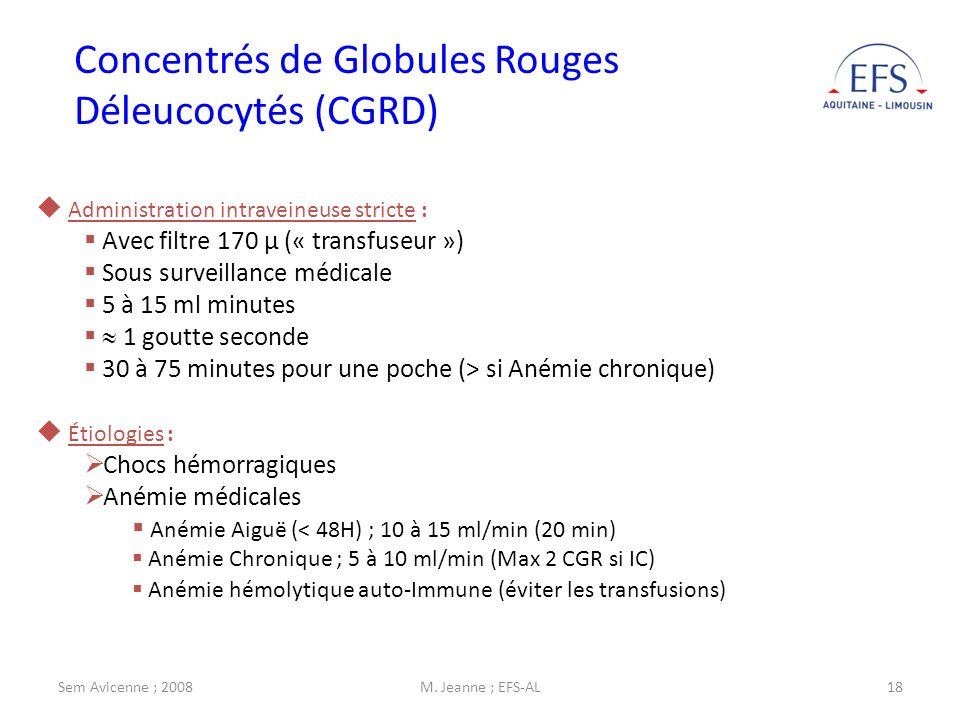 Concentrés de Globules Rouges Déleucocytés (CGRD)