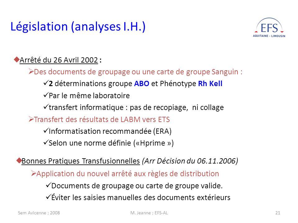 Législation (analyses I.H.)