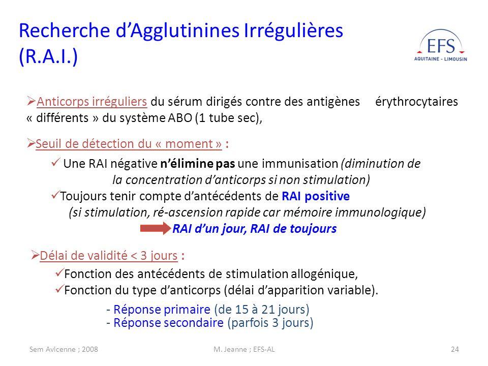 Recherche d'Agglutinines Irrégulières (R.A.I.)