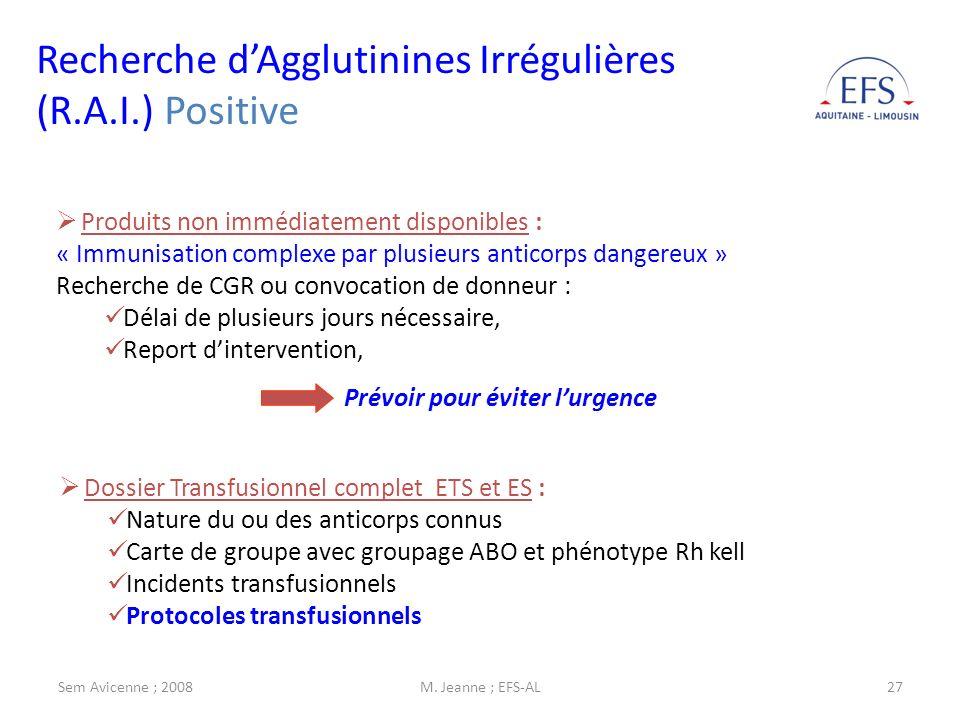 Recherche d'Agglutinines Irrégulières (R.A.I.) Positive